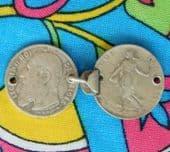 Antique cloak cape clips vintage French Belgian silver coins 1909 1918 Art Deco